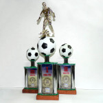 """Кубок """"Футбол"""". Основание - деревянное, металлические стойки, вставки из алюминия"""